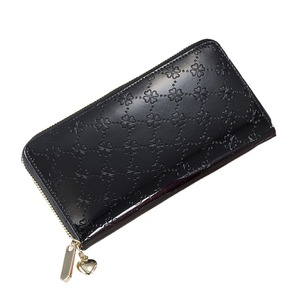 おしゃれnaクローバー 牛革コインスルー財布(ブラック)