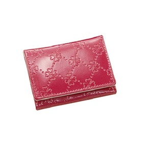 おしゃれnaクローバー 牛革コンパクト財布  ピンク
