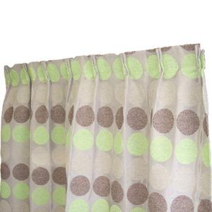 幅100×丈178cm(2枚入り)シュニール カーテン 水玉 日本製 グリーン