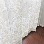 幅100cm×丈198cm【2枚】 綿混花柄レースカーテン 高い掃出し窓 日本製