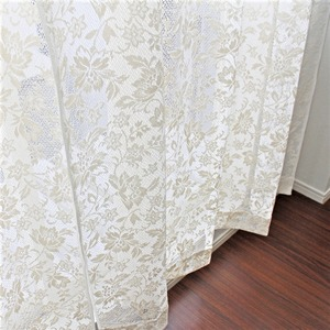 幅150cm×丈176cm【2枚】 綿混花柄レースカーテン 幅が広い掃出し窓 日本製