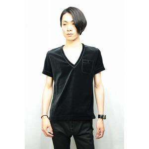 QL Mansion Maker ベロアVネックTシャツ BLACK サイズ46