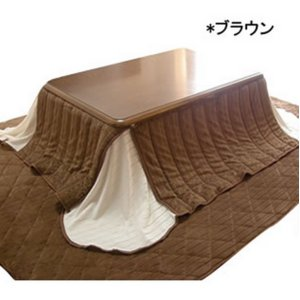 省スペースこたつ布団セット 正方形 マイクロファイバー ブラウン(ULTRA HOTひざ掛け付)