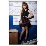 コスプレ 2011新作 黒ブラウス×赤チェック ミニスカ制服 コスチュームセット