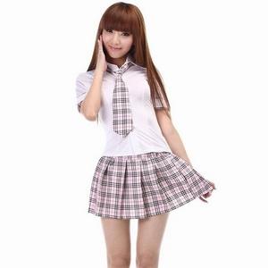コスプレ ピンクチェック 女子高生 ミニスカ制服 コスチューム