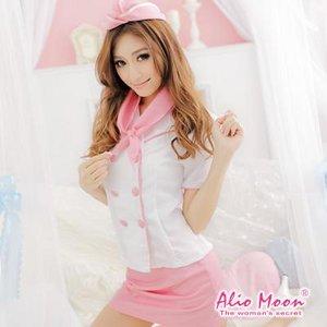 ピンクのスチュワーデスコスチューム4点セット/コスプレ/コスチューム/衣装/f370