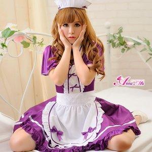 メイド/メイド服/ロリィタ/紫/エプロン/フリル/コスプレ/コスチューム/衣装/z1419