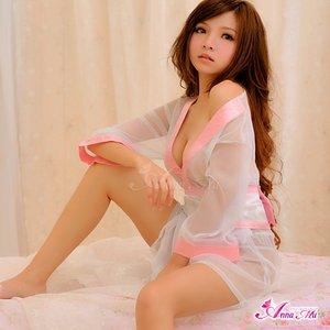 超セクシー☆シースルー着物セット/白×ピンク /花魁/和服/コスプレ/コスチューム/セクシー/ 衣装 /c18-d