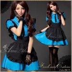 ブルーのメイドコスチューム3点セット/メイド服/コスプレ/コスチューム/衣装/ウェイトレス/c311-d