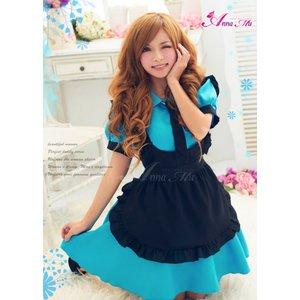 ブルーのメイドコスチューム3点セット/メイド服/コスプレ/コスチューム/衣装/ウェイトレス/c311-d1