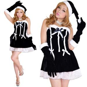 0911 Blackリボンサンタコスチューム3点セット/クリスマス/コスプレ/コスチューム/パーティ/衣装/仮装