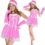 0911 Pinkリボンサンタコスチューム3点セット/クリスマス/コスプレ/コスチューム/パーティ/衣装/仮装