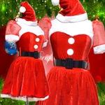 0905 Red お姫サンタコスチューム3点セット/クリスマス/コスプレ/コスチューム/パーティ/衣装/仮装