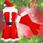 0904 Red アームカバーつきサンタコスチューム4点セット/クリスマス/コスプレ/コスチューム/パーティ/衣装/仮装