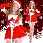 0908 Red アームカバーつきリボンふんわりサンタコスチューム3点セット/クリスマス/コスプレ/コスチューム/パーティ/衣装/仮装