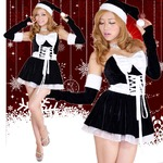0908 Black アームカバーつきリボンふんわりサンタコスチューム3点セット/クリスマス/コスプレ/コスチューム/パーティ/衣装/仮装