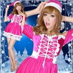 0907 Cherry リボン編み上げオフショルサンタコスチューム2点セット/クリスマス/コスプレ/コスチューム/パーティ/衣装/仮装