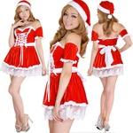 0907 Red リボン編み上げオフショルサンタコスチューム2点セット/クリスマス/コスプレ/コスチューム/パーティ/衣装/仮装