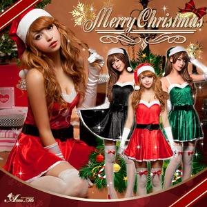 【クリスマスコスプレ】ミニスカサンタワンピコスチューム5点セット/コスプレ/コスチューム/衣装/c335 ブラック