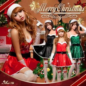 【クリスマスコスプレ】ミニスカサンタワンピコスチューム5点セット/コスプレ/コスチューム/衣装/c335 グリーン