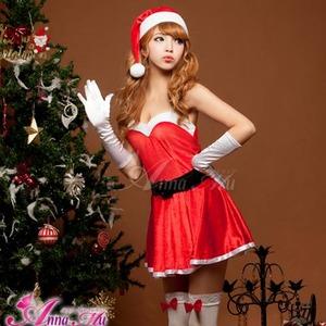 【クリスマスコスプレ】ミニスカサンタワンピコスチューム5点セット/コスプレ/コスチューム/衣装/c335 レッド