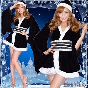 0903黒-白/着物サンタコスチューム3点セット/クリスマス/コスプレ/コスチューム/パーティ/衣装/仮装