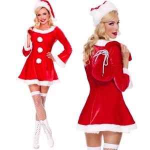9492【長袖 長袖 3個ボンボンサンタ衣装/サンタ/クリスマス/イベント/パーティ/コスプレ/コスチューム/仮装/衣装】