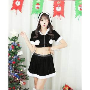 9201ブラック【3色サンタ衣装/サンタ/クリスマス/イベント/パーティ/コスプレ/コスチューム/仮装/衣装】