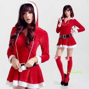 9222【長袖 サンタ衣装/サンタ/クリスマス/コスプレ/コスチューム/イベント/パーティ/仮装/衣装】