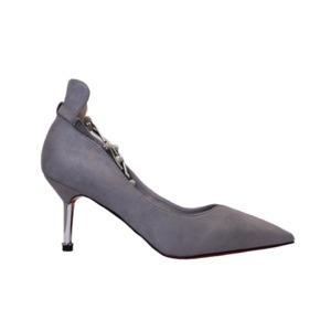 【フーレエル】(K6102)アンクレット風パンプス!足が綺麗に見えるカットデザイン! 24.5cm グレー