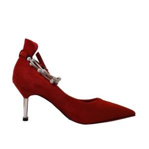 【フーレエル】(K6102)アンクレット風パンプス!足が綺麗に見えるカットデザイン! 23.0cm 紅