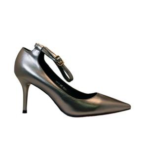 【フーレエル】(K6077)シンプルヒール!安定感と履きやすさ◎!ビジネスにも!23.5cm グレー