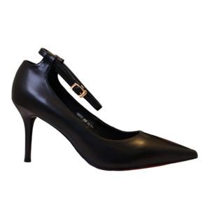 【フーレエル】(K6077)シンプルヒール!安定感と履きやすさ◎!ビジネスにも!23.5cm ブラック