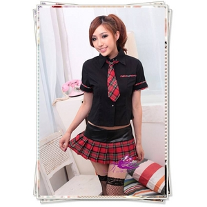 コスプレ 学生服 黒トップスの女子制服(3点入り)