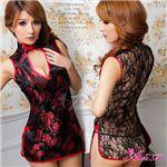 新作 黒×赤刺繍セクシーチャイナドレス/コスプレ/コスチューム/z478