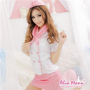 Alio Moon コスプレ ピンクのスチュワーデスコスチューム4点セット f370