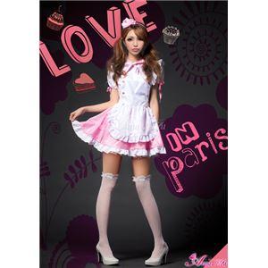 メイド服 コスプレ ウェイトレス ピンク 白 z1172 コスチューム 衣装