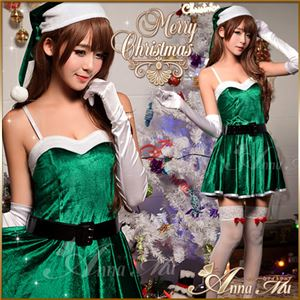 サンタコスプレ コスチューム ドレス ワンピース c335 緑