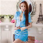 コスプレ コスチューム CA スチュワーデス 制服 z1546 青 水色 衣装