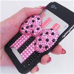 iphone4/4S用 スマートフォンケース カードホルダー付 プリンセスリボン