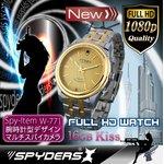 【防犯用】【超小型カメラ】 【小型ビデオカメラ】腕時計 腕時計型 スパイカメラ スパイダーズX (W-771) フルハイビジョン 動体検知 16GB内蔵