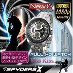 【防犯用】【超小型カメラ】 【小型ビデオカメラ】腕時計 腕時計型 スパイカメラ スパイダーズX (W-775) フルハイビジョン 動体検知 16GB内蔵