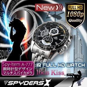 【超小型カメラ】 【小型ビデオカメラ】腕時計 腕時計型 スパイカメラ スパイダーズX (W-777) フルハイビジョン 赤外線 16GB内蔵