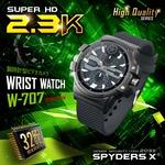 【防犯用】【超小型カメラ】【小型ビデオカメラ】 腕時計型 スパイカメラ スパイダーズX (W-707) 2.3K 60FPS 32GB内蔵