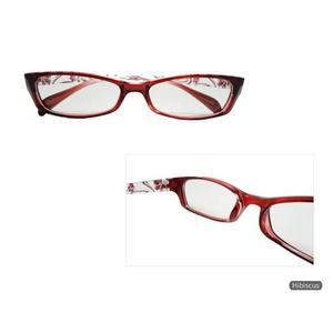 【眼精疲労防止・軽減】コンピューターグラス(パソコン用眼鏡)ケース付 ハイビスカスレッド 赤