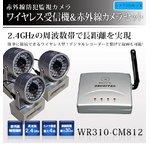 【防犯用】【防犯カメラ3台セット】2.4GHzワイヤレス小型受信機& 赤外線搭載 ワイヤレス小型カメラ!設置が簡単!【NET-WR310-CM812×3】