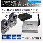 【防犯用】 【防犯カメラ2台セット】【ミニDVR&BNCコネクターあり】2.4GHzワイヤレス小型受信機& 赤外線搭載 ワイヤレス小型カメラ!設置が簡単!【NET-WR310-CM812×2-mini DVR-CN】