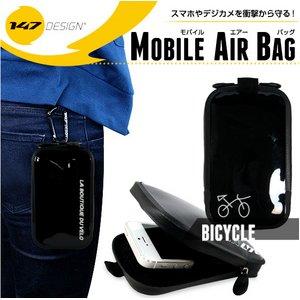 耐衝撃&防滴 モバイルエアバッグ スマートフォンケース 【ロゴ:自転車】【Mサイズ】【NET-147MAB-9-BI】