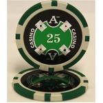 Quattro Assi(クアトロ・アッシー)ポーカーチップ(25)緑 <25枚セット>
