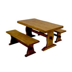 浮造りダイニングテーブル(テーブル単品) 【幅135cm】 木製(松/パイン) 木目調 アジャスター付き